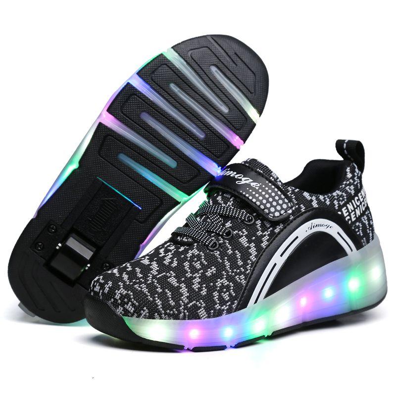 2018 Heelys LED Light Sneakers with Wheel Boy Girl Roller Skate Casual Shoe with Roller Girl Zapatillas Zapatos Con Ruedas