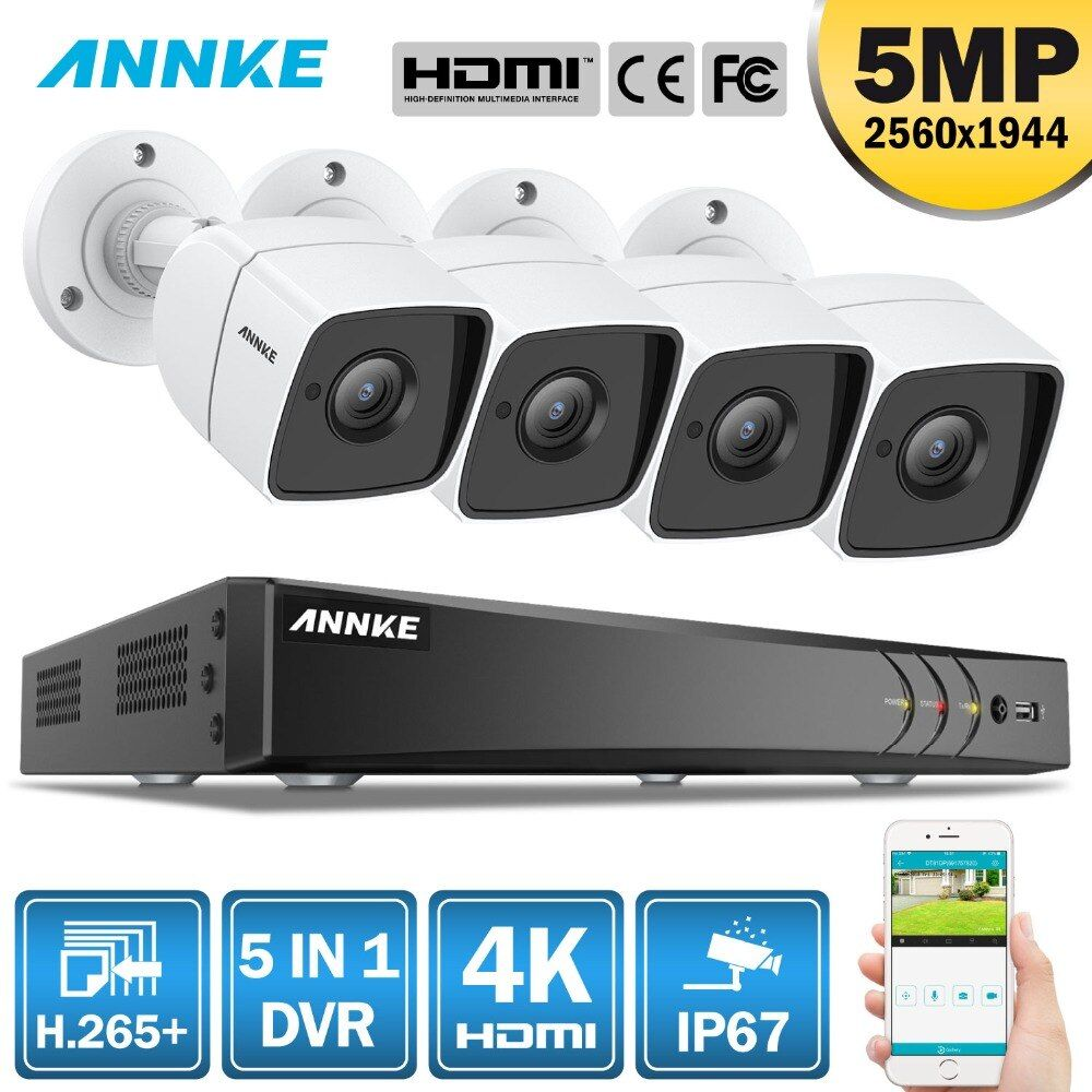 ANNKE 8CH 5MP 5IN1 Ultra HD CCTV Kamera System H.265 + Mit 4 PCS 5MP TVI Kugel Wetter Weißen Sicherheit überwachung System