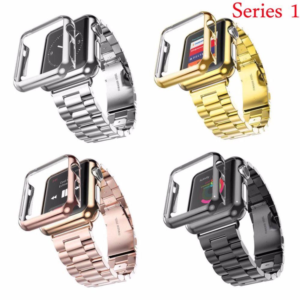 38mm 42mm 3 Points Inoxydable Bracelet En Acier Plaqué Or Housse De Protection Montre Bandes pour Apple Montre Série 1 cas Bande