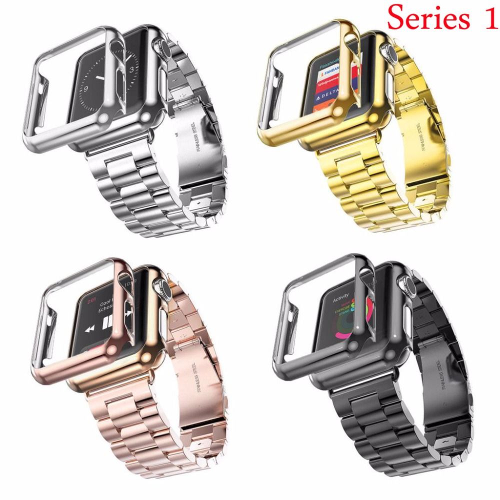 38mm 42mm 3 Points Stainless Steel Strap Gold Plated <font><b>Protective</b></font> Cover Watch Bands for Apple Watch Series 1 Case Band