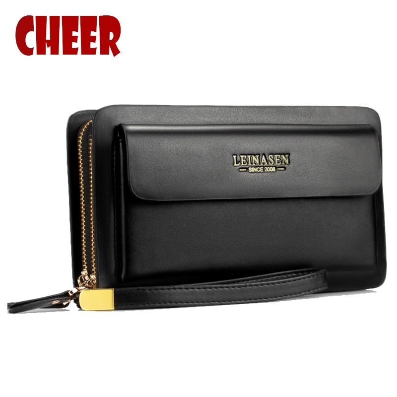 NEW Business wallet Casual Clutch coins pocket pueses luxury portfolio <font><b>Double</b></font> zipper purse High capacity Multifunction wallets