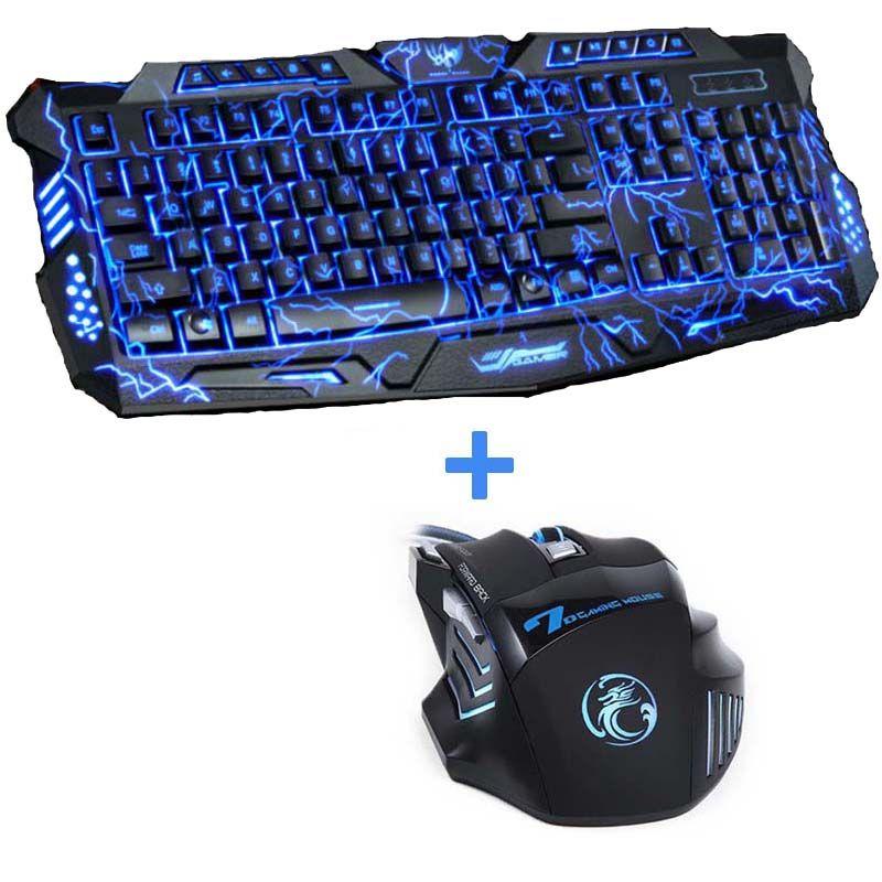 Tri-colour USB filaire LED rétro-éclairé ordinateur portable Gamer clavier souris Combo optique Pro 7 boutons 5500 DPI souris de jeu
