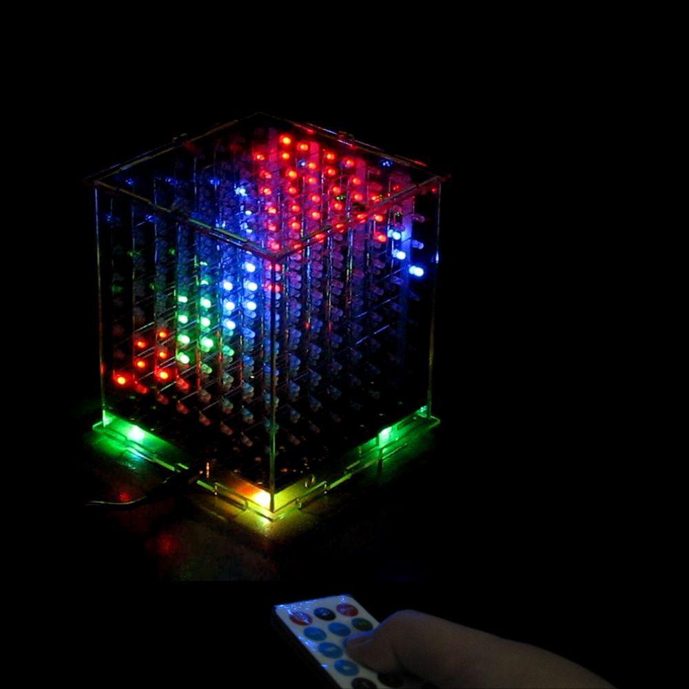 3D8 BRICOLAGE multicolore LED mini lumière cubeeds Avec IR/3D 8 8x8x8 Kits/Junior, cadeau de noël led Musique Spectre électronique diy kit