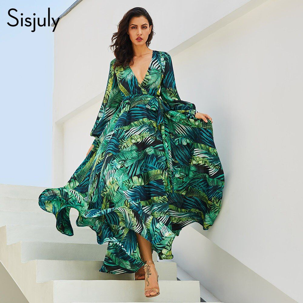 Sisjuly Summer Dress Women Long Dress Chic Green Tropical Print Belt Bohemian Stylish Maxi Dress Casual V Neck Plus Size Dress