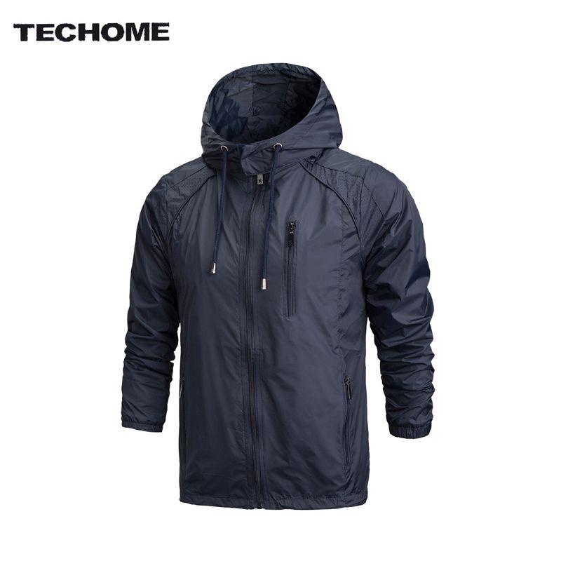 Осень 2017 г. Новый Для мужчин брендовая одежда Спортивная Для мужчин мода тонкая ветровка куртка на молнии Пальто для будущих мам верхняя оде...