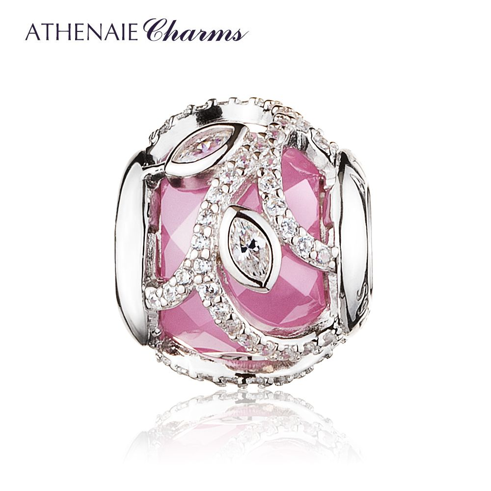 ATHENAIE 925 Sterling Silver Pink Clear CZ Nature's Radiance Charm Beads For Jewelry Making DIY Fit European Bracelets