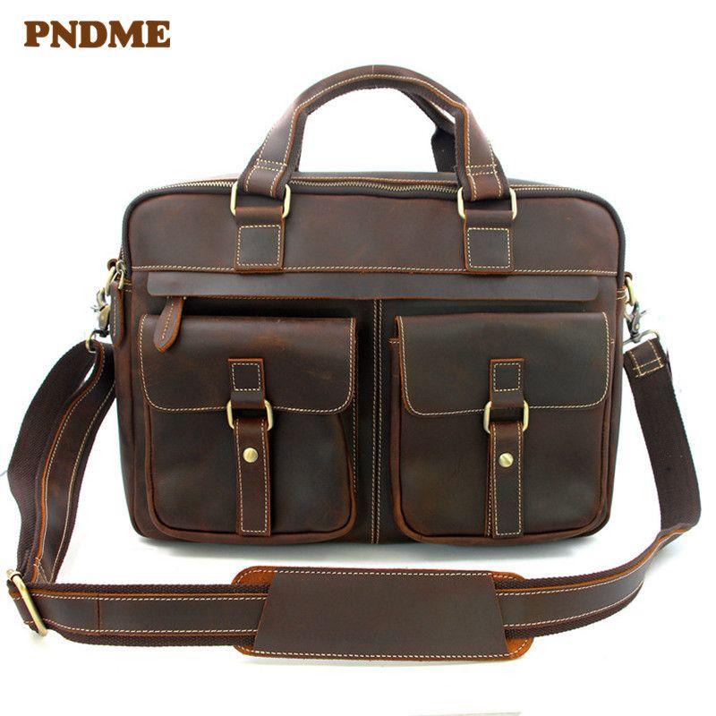 PNDME business retro echtes leder männer aktentasche hohe qualität crazy horse rindsleder messenger taschen große kapazität laptop taschen
