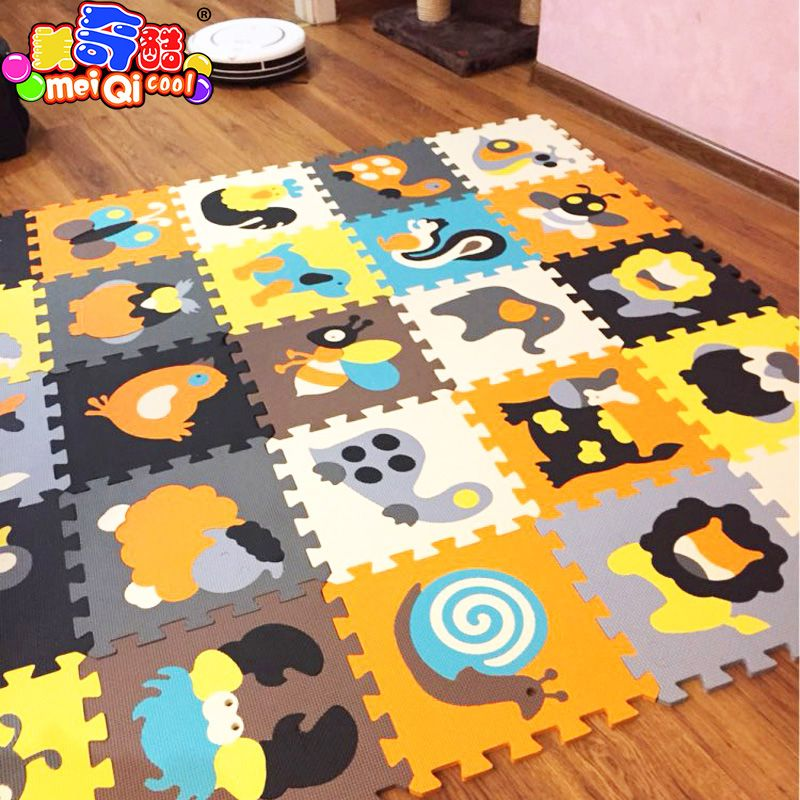 18pcs Cartoon Animal Pattern Carpet EVA Foam Puzzle Mats Kids Floor Puzzles Play Mat For Children Baby Play Gym Crawling Mats