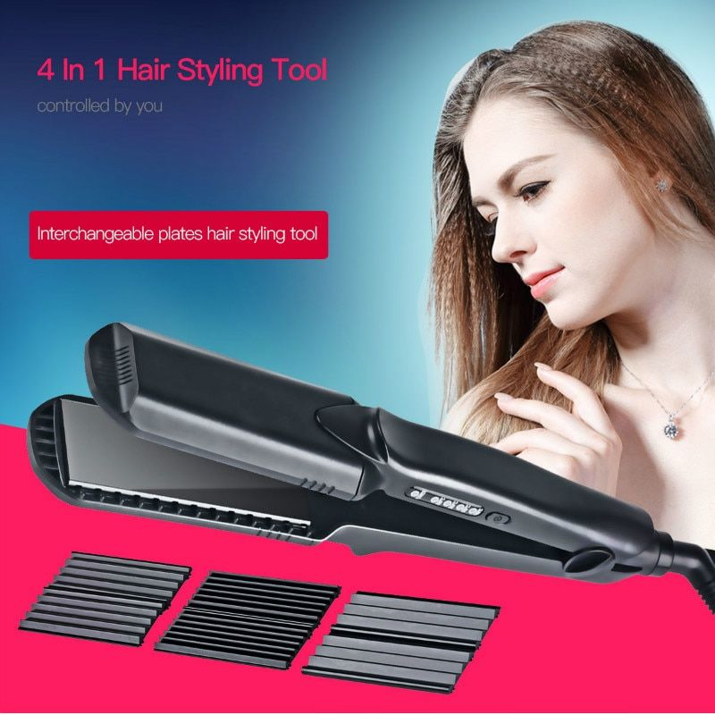 Professional Hair Flat Iron Ceramic Corrugated Iron Temperature Control Wide Hair Waves Plate Curling Hair Curler Styling Tools