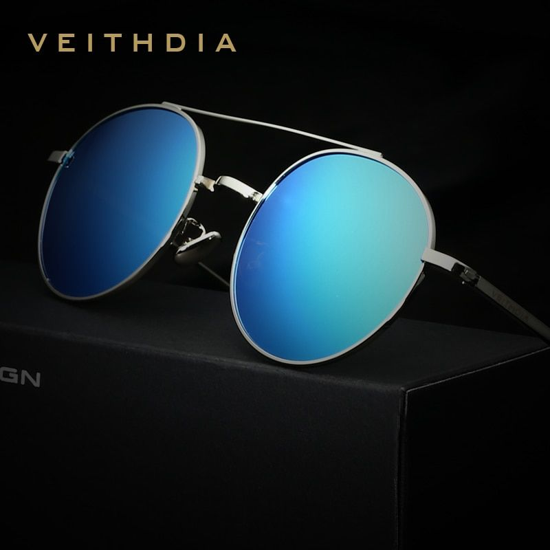 VEITHDIA Brand Designer <font><b>Fashion</b></font> Unisex Sun Glasses Polarized Coating Mirror Sunglasses Round Male Eyewear For Men/Women 3617