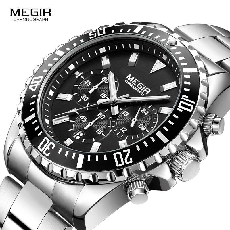Megir Man's Analogue Chronograph Quartz Watch with Stainless Steel Bracelete Luminous Wristwatch for Boys Calendar 24-Hour 2064G