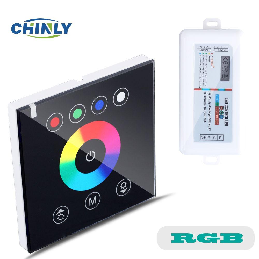 Contrôleurs rvb 2.4G sans fil noir couleur interrupteur tactile mur contrôleur LED gradateur pour DC12V LED néon flex bandes lumineuses