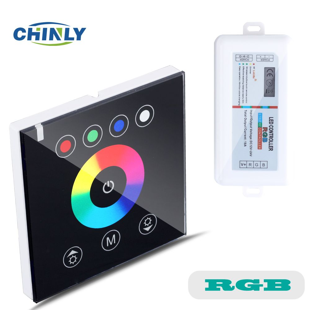 RGB Contrôleurs 2.4g Sans Fil Noir couleur commutateur tactile contrôleur de mur led gradateur pour DC12V LED Néon flex bande lumières