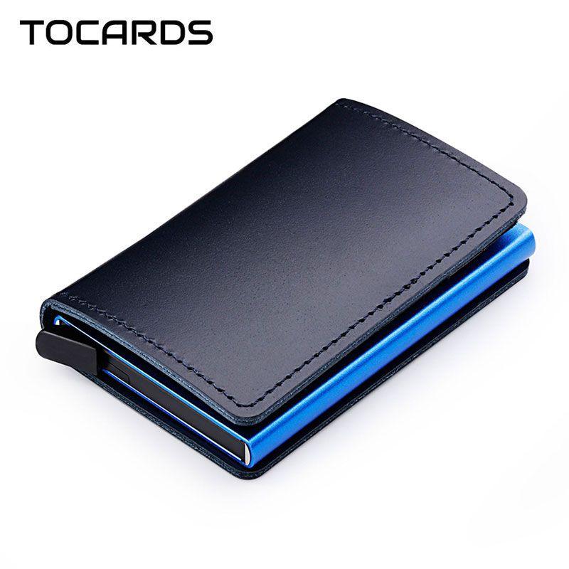 RFID bloquant 100% en cuir véritable porte-carte de crédit en aluminium métal affaires ID porte-carte mince porte-cartes Mini portefeuille pour hommes