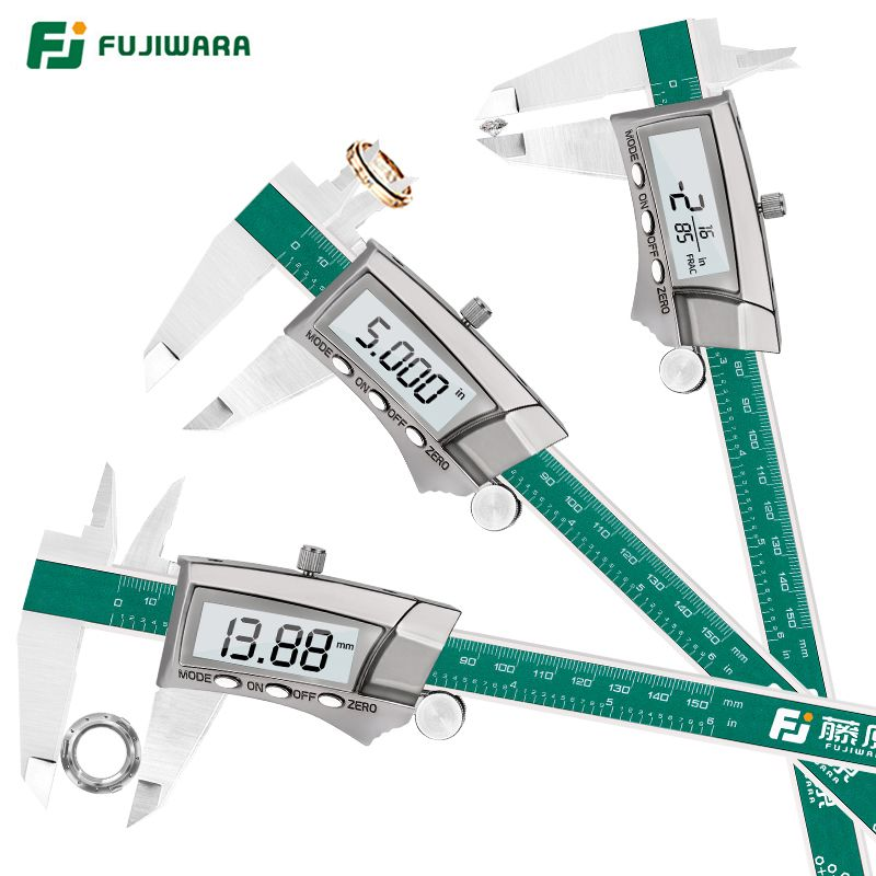 FUJIWARA Digital Display Stainless Steel Caliper 0-150mm 1/64 Fraction/MM/Inch LCD Electronic Vernier Caliper IP54 Waterproof