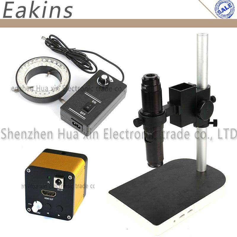 HDMI Industrial Microscope Camera 60 frames/sec 1080P high speed + 10~200X HD C Mount Lens + Table Stand Holder + 60 LED Light
