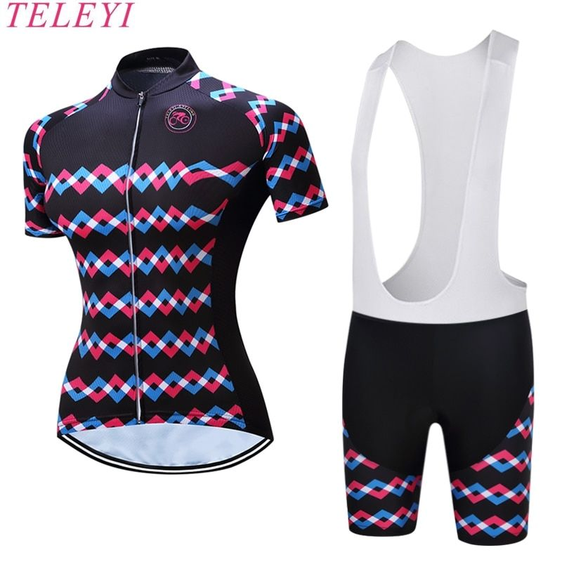 TELEYI Hedia Women Bike Shirt 100% Polyester Breathable Bicycle Clothes Summer UV Cycling Clothing Quick-Dry Cycling Jersey