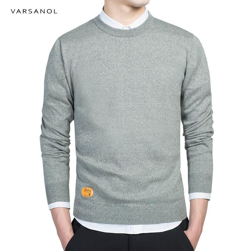 Varsanol Mens Cotton Sweater Pullovers Men O-Neck Sweaters Jumper Autumn Thin male Solid Knitting Clothing Grey Black M-3XL New