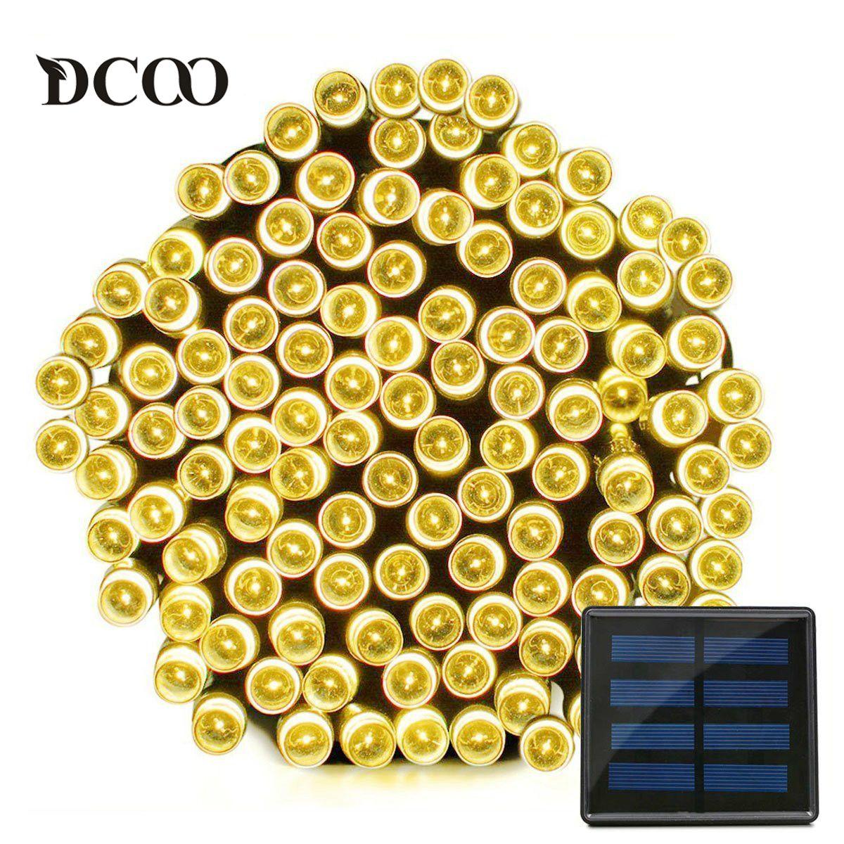Dcoo cordon LED solaire lumières 22 mètres 200 LED s étanche 8 Modes fée noël lumières éclairage extérieur jardin fête lumières