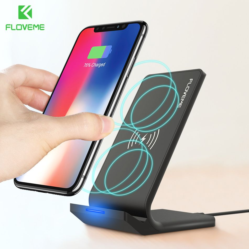 10W Qi Wireless Charger FLOVEME Desktop Stand Charging <font><b>Pad</b></font> Wireless Chargers For Samsung S8 Plus S9 S6 Edge For iPhone X 8 Plus