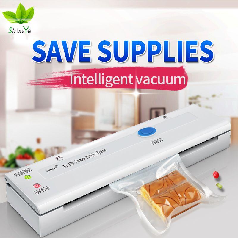 ShineYe Alimentaire Des Ménages Vide Scellant Emballage Mahicne 110-220 V Vide Packer Machine Comprennent sacs sketch pour conserver les aliments économiseur