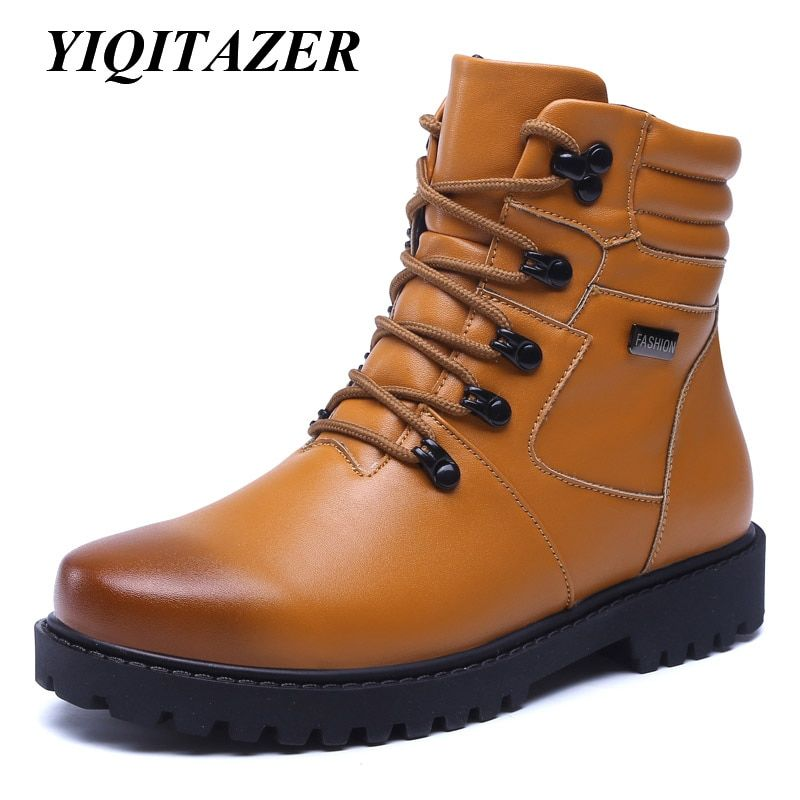 YIQITAZER 2017 Fashion Winter Snow Ankle Boots Men,Rubber Soles Military Boots Shoes Man Geniune Leather Shoes Warm Wool Insoles