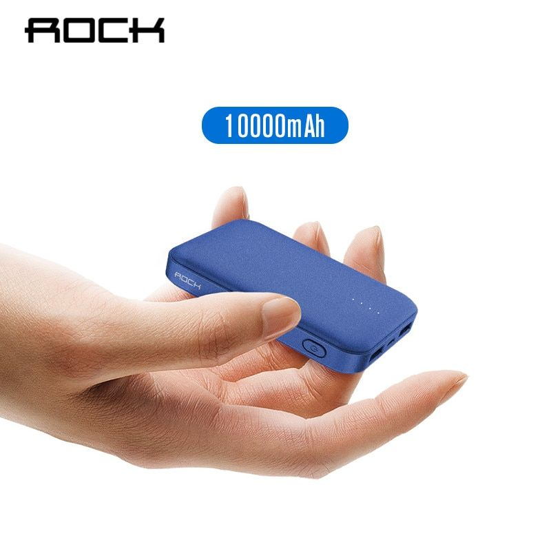 ROCK Mini Power Bank 10000mAh External Battery Charger Portable Charger Dual USB Powerbank for iphone X Samsung Xiaomi