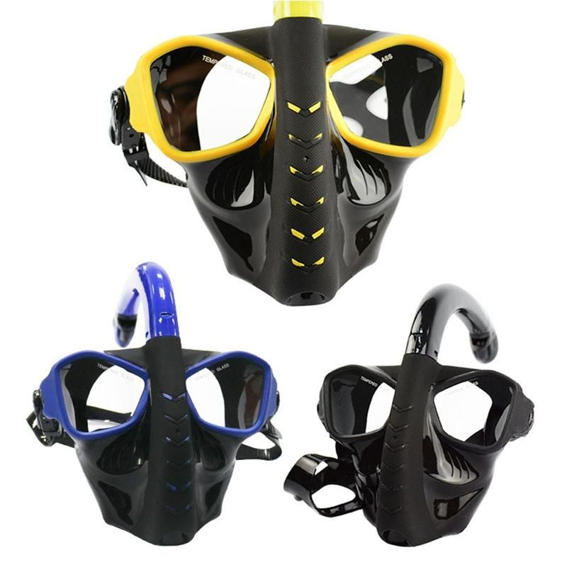 LumiParty Full Face Snorkeling Mask Anti-Leaking Anti-Fogging Dry Snorkel Diving Mask Underwater Swimming Training Diving Goggle