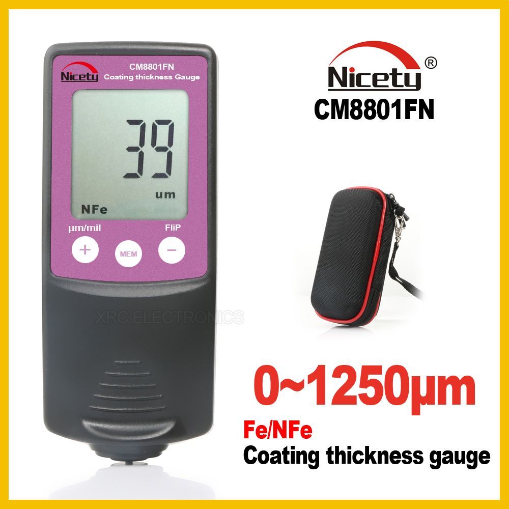 New Nicety <font><b>Automotive</b></font> Car Paint Thickness Gauge Gauges of Paint and Varnish Film Coating for Cars Meter CM8801FN Fe NFe 2 in 1