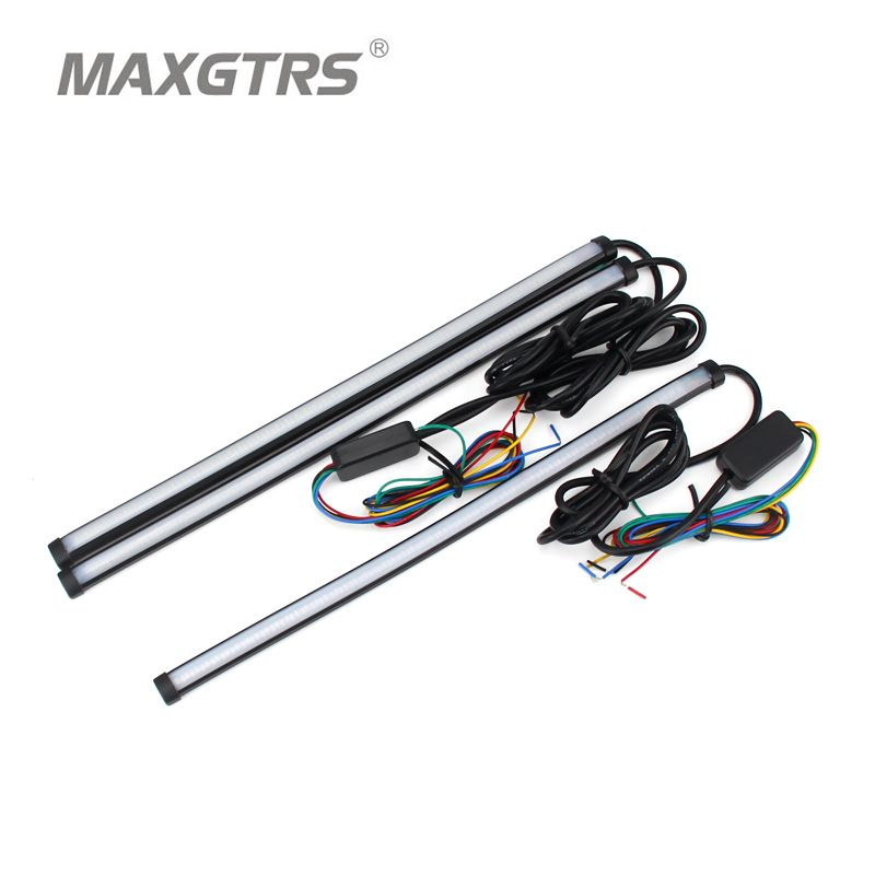 Car Flexible Switchback LED Knight <font><b>Rider</b></font> Strip Light For Headlight Sequential Flasher DRL Flowing Amber Turn Signal Lights