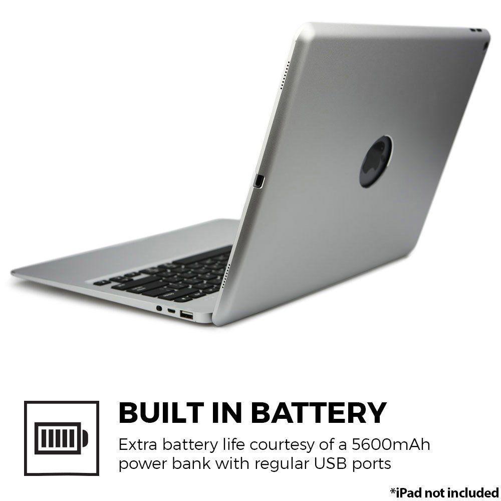 Für iPad Pro 12,9 2017 Bluetooth Tastatur Fall, aluminium Tastatur Folio Fall Abdeckung + 5600 mAh Externe Batterie + 7 Farben Hintergrundbeleuchtung