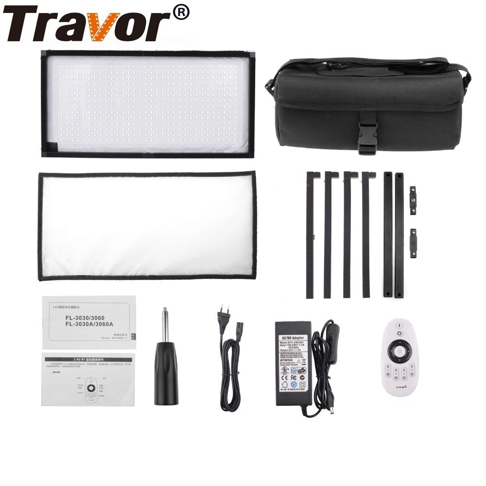 Travor FL-3060A Flex LED Video Light Led Panel 30x60cm Bi-Color 480LED Studio Light Photography Lighting With 2.4G Remote Contro