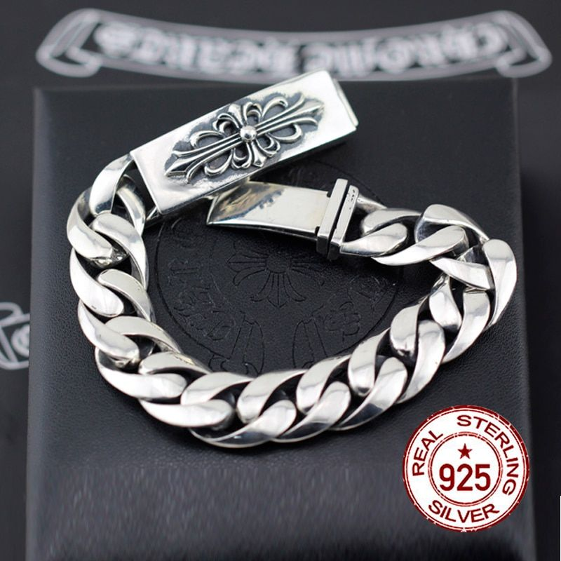 2017 New Promotion Link Chain 925 Sterling Bracelets Make Old Money Holy Sword And Military Flower Punk Male Gift To Your Lover