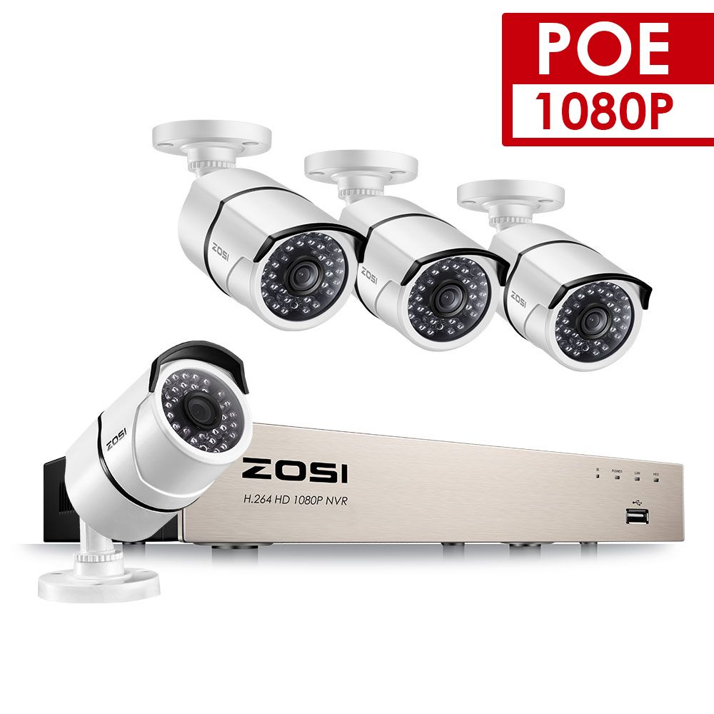 ZOSI 4CH 1080P POE CCTV System NVR Kit 4PCS 2MP Vandalproof Waterproof Bullet Outdoor IP Camera P2P Onvif Security POE DIY Kit