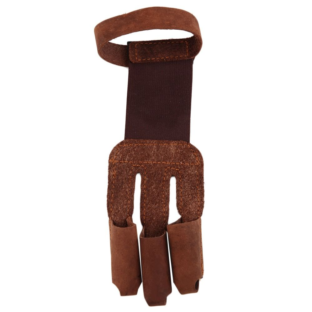 Стрельба из лука защитить перчатка 3 пальца тянуть стрелка кожа Стрельба Прихватки для мангала Бесплатная доставка