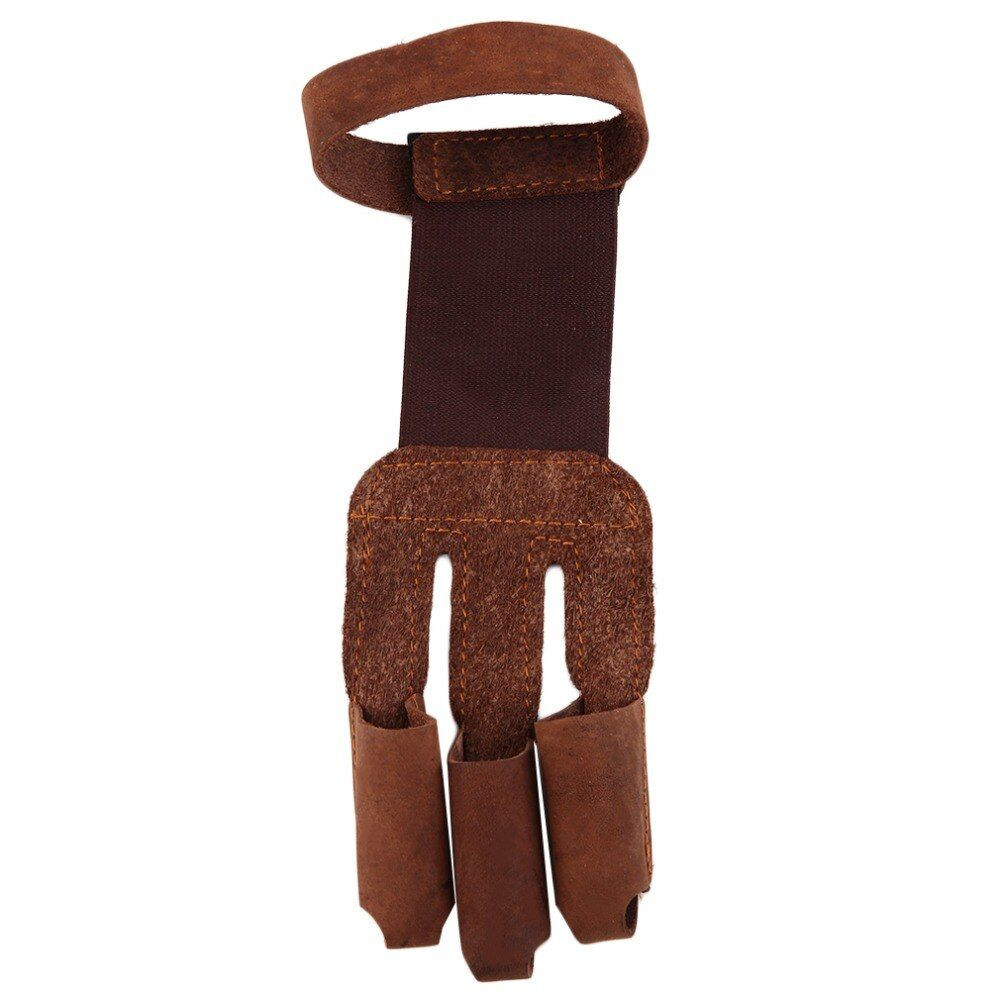 Bogenschießen Schützen Handschuh 3 Finger Pull Bogen pfeil Leder Handschuhe kostenloser versand