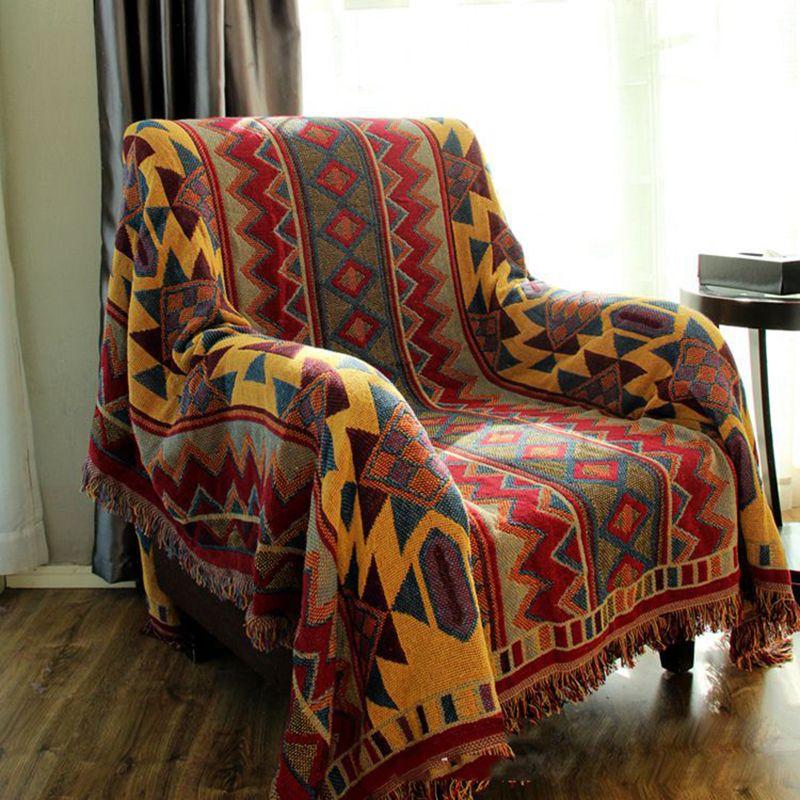 Bohème coton fil couverture pour canapé couvertures épaisses couverture de Piano couvre-lit tapis Jacquard couvertures 3-Size couvre-lit