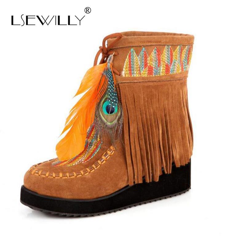 Lsewilly Indian Style Retro Fringe Boots Flock Chunky Feather Women Ankle Short Boots Tassels Big Size Shoes Size 34-43 AA555