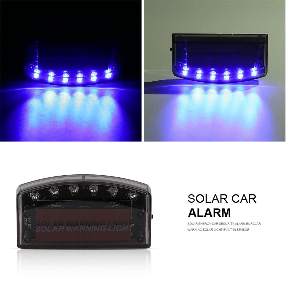 Солнечной энергии автомобиля Охранной Сигнализации flash синего света 6LED охранной Предупреждение Солнечный Свет Встроенный Сенсор увеличит...