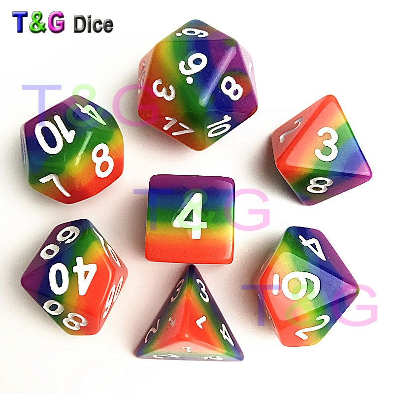 2017 New Dice 7pcs/set Rainbow dice ,d4 d6 d8 d10 d10 d12 d20 dnd rpg dice for board game