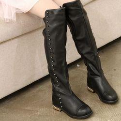Anak Sepatu Pernikahan Paku Keling Perempuan Sepatu Salju Hitam Over The Knee Boots untuk Sepatu Pesta Gadis Putri Panjang TX286
