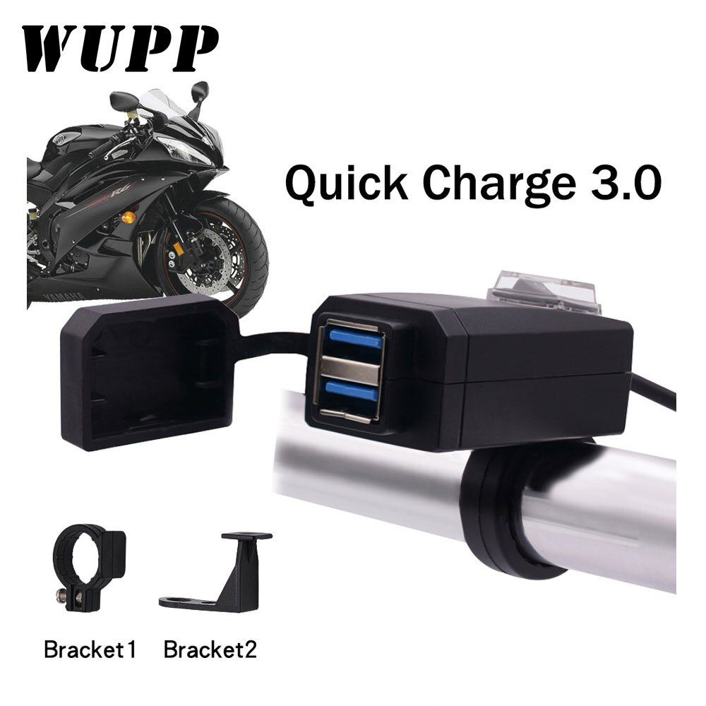 WUPP Universal QC3.0 USB Motorcycle Charger Waterproof Dual USB Quick Change 12V Power Supply Adapter for iphone Samsung Huawei