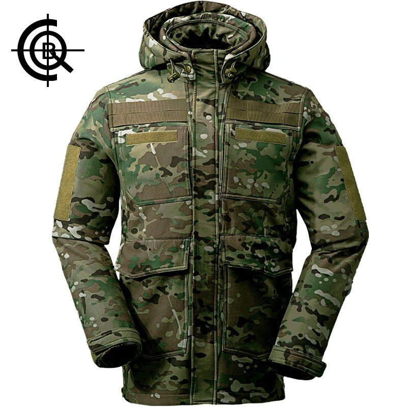 CQB Outdoor Softshell Jacket Men Camouflage Water Repellent Camping Hiking Hunting Multi <font><b>Pocket</b></font> clothes CYF0673
