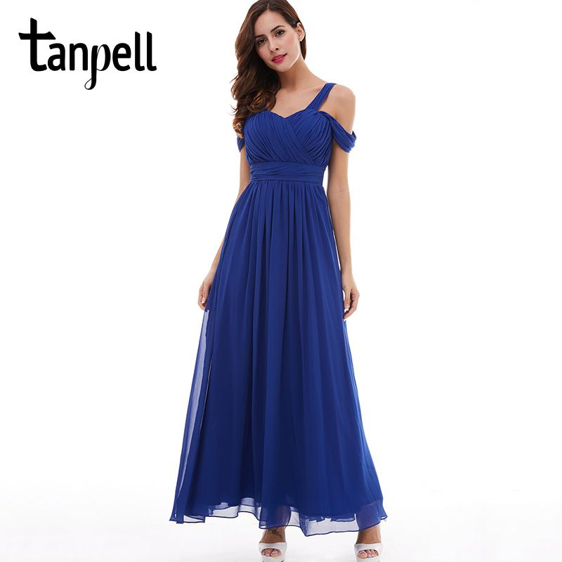 Tanpell straps prom dress cheap dark royal blue floor length a line draped dresses back lace up formal evening long prom gown