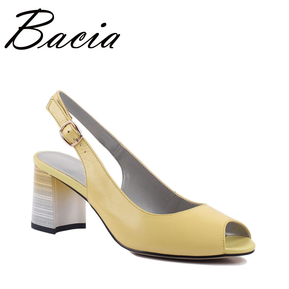 Bacia Sheepskin Sandals 3 Color about 7cm Heel Summer Shoes Women Leisure Genuine Leather High Quality Footwear Size 33-41 SB006