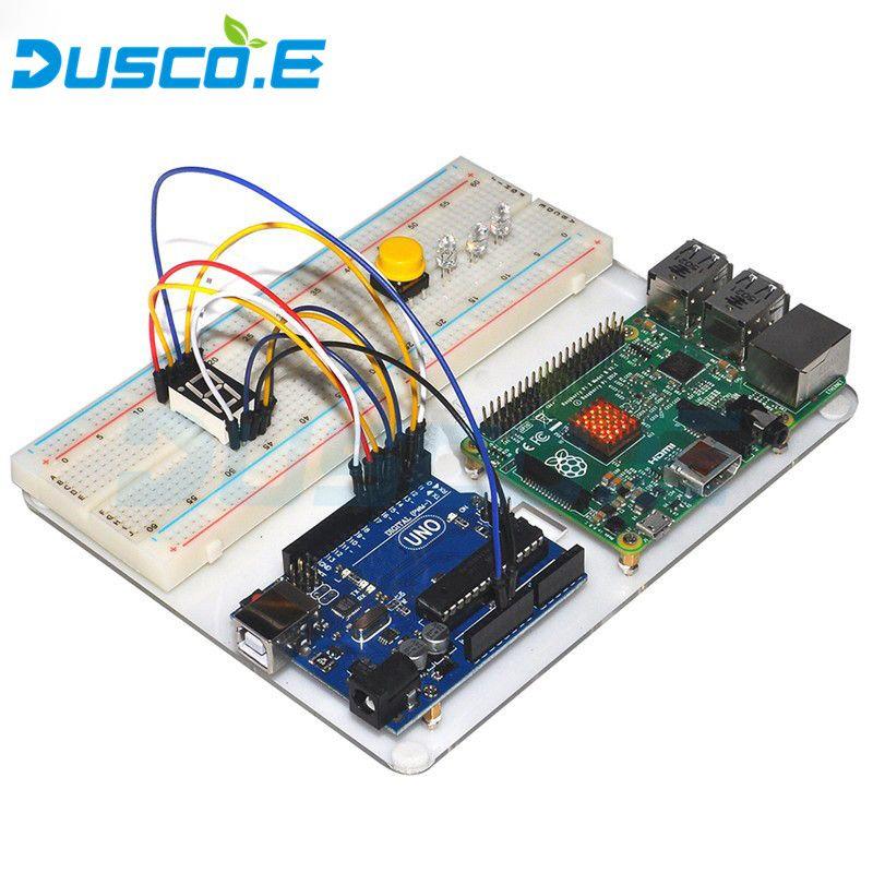 Nouveau Acrylique Plaque de Base Pour La Framboise Pi 3 Modèle B/Arduino Kit De Démarrage De Base Suite D'apprentissage Uno R3 LCD 1602 Fil de cavalier