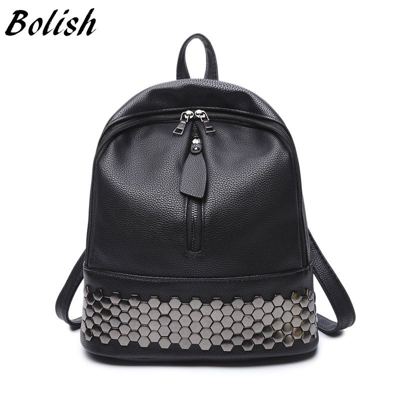 Bolish High Quality PU Leather Women Backpack Preppy Style School Backpack Black Mater Rivet Women Bag