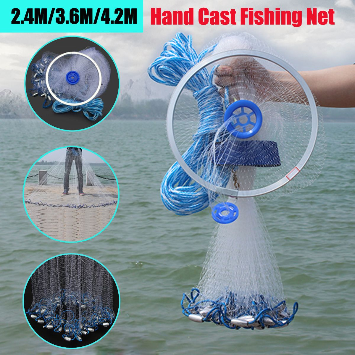 Bobing New Arrival 3.6m/2.4m Big Hand Cast Fishing Nylon Net Gill Spin Network Bait Net w/ Sinker Carp Fishing Tackle Accessory