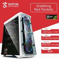 GETWORTH S7 Desktop Computer Ryzen 7 1700 GeForece GTX1080 240GB SSD 1TB HDD 8G RAM 500W Free LED Fans Win10 PUBG Free Shipping