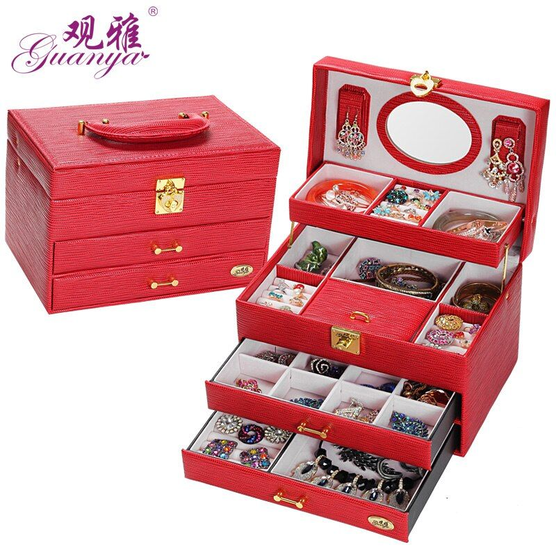 Fast Shippment Affordable Price High Quality 4 Layers Nobel Design Leather Jewelry Box With Large Space Jewlel Casket For Gift